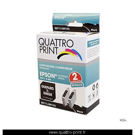 photo boite Quattro Print 2 cartouches compatibles T0711 T0891 noire