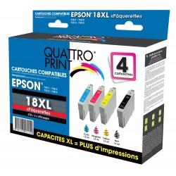 Pack 4 cartouches d'encre compatible T1811 T1812 T1813 T1814