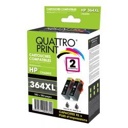 Pack 2 cartouches quattro print noire compatible HP 364XL