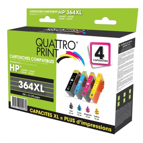 Pack 4 cartouches Quattro Print compatible HP 364XL