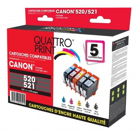 Pack 5 cartouches Quattro Print compatible PGI-520 BK / CLI-521 BK / CLI-521C / CLI-521M / CLI-521Y