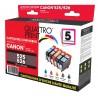 Pack 5 cartouches Quattro Print compatible PGI-525BK / CLI-526BK / CLI-526C / CLI-526M / CLI-526Y