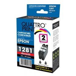 photo du pack quattro Print de 2 cartouches compatibles T1281 noire
