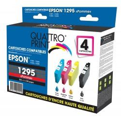 Pack 4 cartouches Quattro Print compatible Epson T1295 (Pomme)