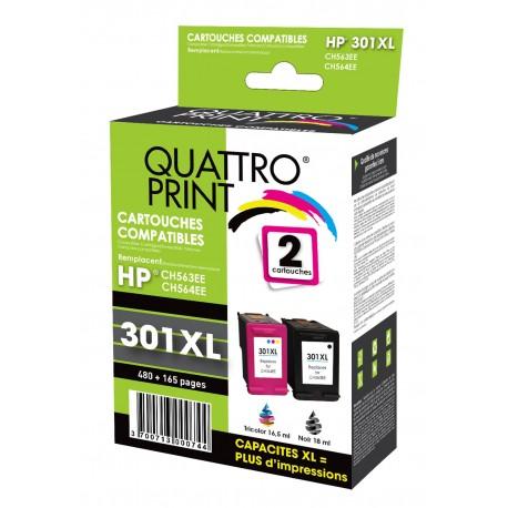 Pack 2 cartouches d'encre Quattro Print compatible HP 301XL