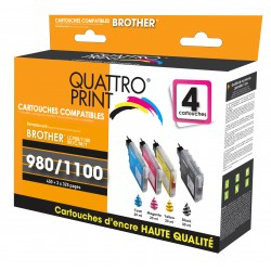 Pack 4 cartouches d'encre compatible Brother LC-980 / LC-1100