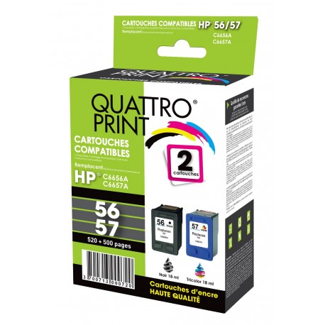 Pack 2 cartouches quattro print compatible HP 56/57