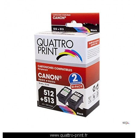 Pack 2 cartouches d'encre QuattroPrint compatible Canon PG-512 / CLI-513