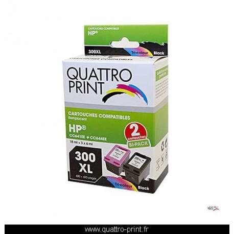 Pack 2 cartouches Quattro Print pour HP 300XL
