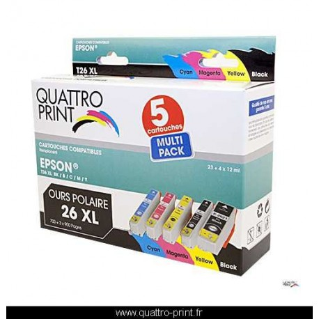 Pack 5 cartouches Quattro Print compatible T2636 (Ours Polaire)