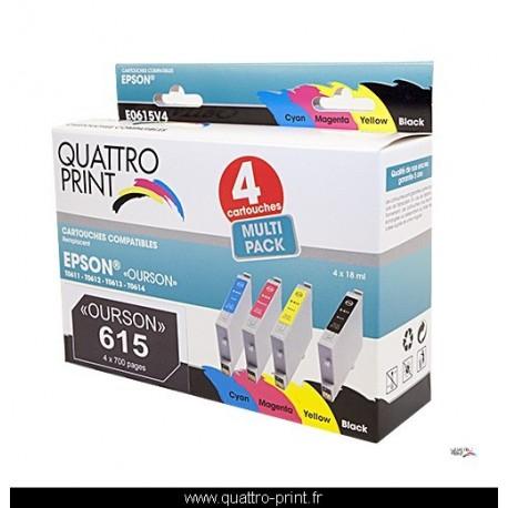 Pack 4 cartouches d'encre Quattro Print compatible Epson T0615