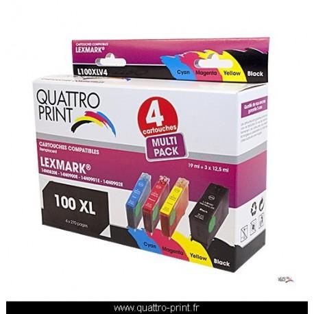 Pack 4 cartouches d'encre Quattro Print compatible Lexmark 100