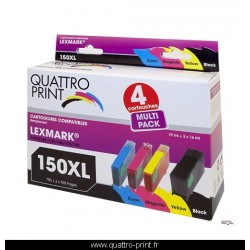 Pack 4 cartouches Quattro Print compatible Lexmark 150XL