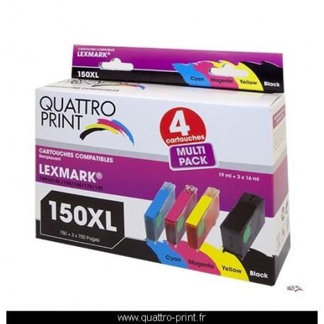 Pack 4 cartouches Quattro Print compatible Lexmark 150XL