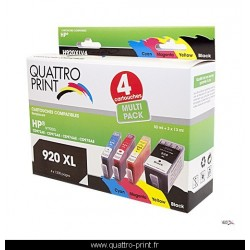 Pack 4 cartouches d'encre compatible HP 920XL