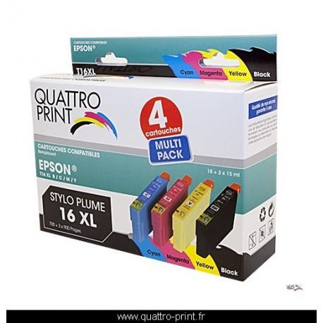 Pack 4 cartouches d'encre QuattroPrint compatible Epson T1636 (Stylo Plume)