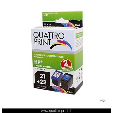 Pack 2 cartouches d'encre Quattro Print compatible HP-21 + HP-22