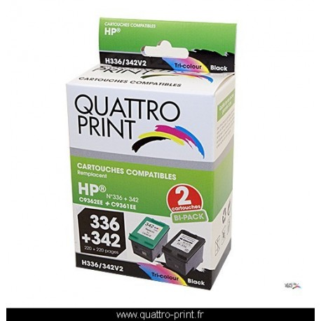 Pack 2 cartouches d'encre Quattro Print compatible HP 336 HP 342