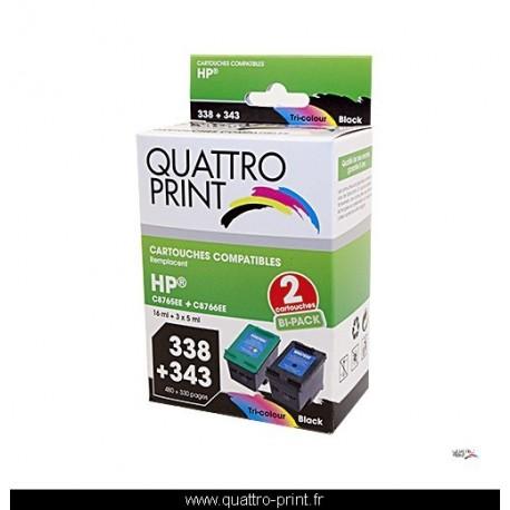 Pack 2 cartouches d'encre Quattro-Print compatible HP 338 / HP 343