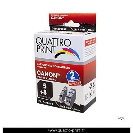 Pack 2 cartouches d'encre Quattro Print noires compatible Canon PGI5 / CLI8BK