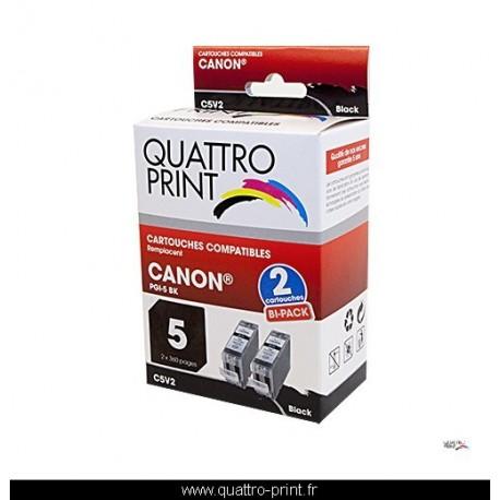 Pack 2 cartouches d'encre Quattro Print compatible Canon PGI5Bk