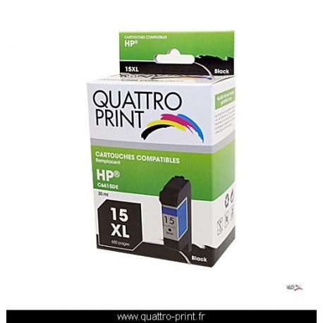 Cartouche d'encre Quattro Print compatible HP15XL