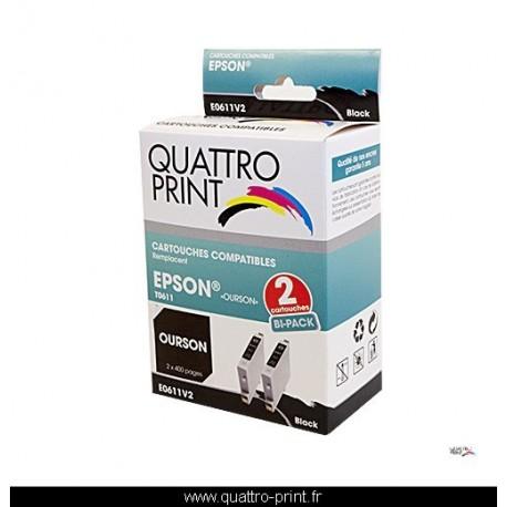 Pack 2 cartouches Quattro Print noire compatible Epson T0611 (Ourson)