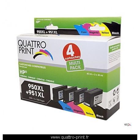 Pack 4 cartouches d'encre Quattro Print compatible HP 950XL 951XL
