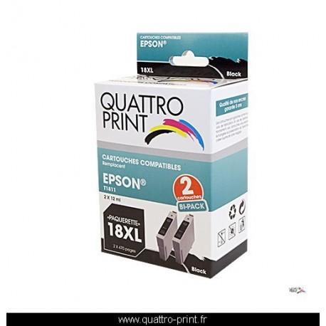 Pack 2 cartouches Quattro Print noire compatible Epson T1811 (Paquerette)